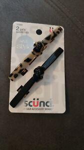 Scunci No Slip Grip Barrettes Set of 2 New Knot Bar Style Faux Tortoise Black
