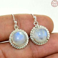 "Rainbow Fire Moonstone India 925 Sterling Silver Earrings Jewelry 1.25"""
