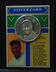 LOU GEHRIG YANKEES 999 SILVER COIN 1992 MONEY COMPANY CARD CURTIS MGMT 1/15000