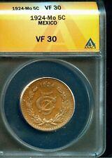 MEXICO 1924 Mo 5 Centavos KM422 ANACS VF30