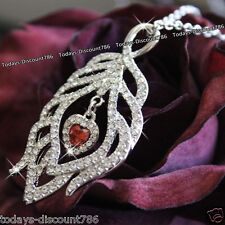 RED HEART CRYSTAL NECKLACE LOVE GIRL WIFE WOMEN LADY VALENTINE XMAS GIFT FOR HER