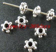 350pcs Tibetan Silver Nice Daisy Spacer Beads 6x3mm zn153