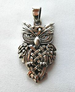 Sterling  Silver  925   Sitting  Owl  Pendant   ( 6.7 Grams )   !!       New !!