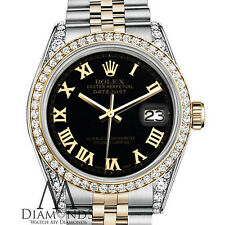 Ladies Rolex Stainless Steel 18KGold 36mm Datejust Black Roman Jubilee 2Tone