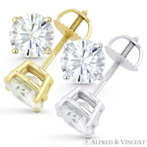 1.50ct Round Brilliant Cut Moissanite 14k Gold Stud Earrings Charles and Colvard