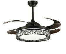 Black Retractable Ceiling Fan with Light and Remote Chandelier Dimmable Fan 42""