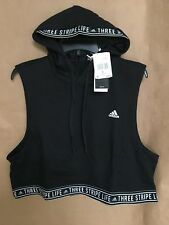 NEW adidas Women's Three Stripes Life Crop Fighter Hoodie Size L Sleeveless Blak