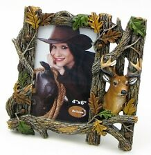 "Resin Deer Figurine Picture Frame Decor 8 x 7.5 x 1"" for 4 x 6"" Photo"