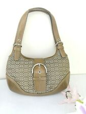Coach Hand Bag Brown Authentic Signature Medium Canvas Leather Serial C04J-7074