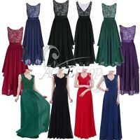 Elegant Women's V-Neck Wedding Bridesmaid Evening Party Cocktail Long Gown Dress