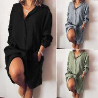 Oversize Femme Couleur Unie Ample Manche Longue Simple Bouton Droit Robe Jupe