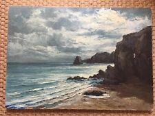 «Bord de mer/falaises»Huile à restaurer,signée : J.Ricard +ancre de Marine