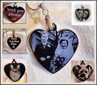 Engraved personalised gift heart pendant ID with text and picture