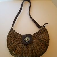 Coldwater Creek Straw Brown Rustic Shoulder Bag Purse