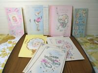 12 Vintage Baby Shower Paper Greeting Card Lot Unused Congratulations Set