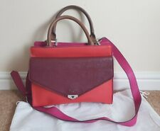 Guess Ladies Pink Burgundy Coral Colour Block Handbag With Strap Dust Bag
