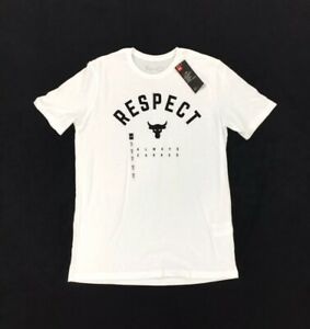 NEW Under Armour x Project Rock Respect Always Earned White Black Mens T Shirt