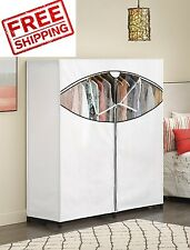 'Fabric Portable Wardrobe White Closet Garment Clothes Rack Storage Armoire Hang' from the web at 'https://i.ebayimg.com/thumbs/images/g/1dcAAOSwFe5X1KvW/s-l225.jpg'