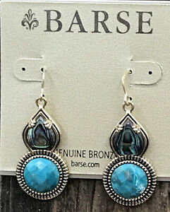 Barse Kona Earrings- Turquoise & Abalone- Bronze- New With Tags