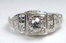 Antique Art Deco Diamond Engagement 18K White Gold Ring Size 4.5 UK-I EGL USA