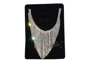 Extra Size Sew On Necklace Applique Crystal Rhinestone For Party Wedding A387