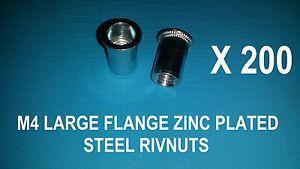 200X STEEL ZINC PLATED RIVNUTS M4 NUTSERT RIVET NUT LARGE FLANGE NUTSERTS RIVNUT