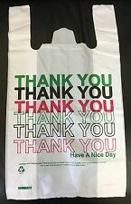 "120 White Large Thank You Plastic Vest Carrier Bags 11""x17""19"" Strong 22micron"