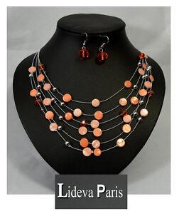 Set Kette Ohrringe Halskette Schmuckset Paris Perlmutt/Glas Perlen Rund Orange