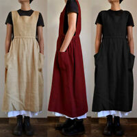 KQ_ Women Plain Sleeveless Cotton Linen Baggy Apron With Pockets Long Dress Casu