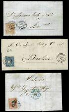 3 Cartas Clásicas. Epoca Isabel II.Diversas Marcas y Fechadores