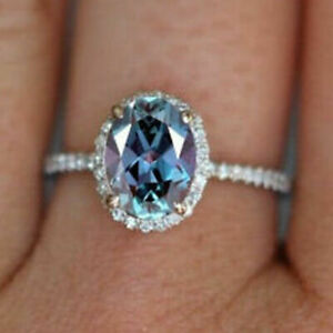 3Ct Oval Cut Alexandrite Diamond Halo Engagement Ring Solid 14K White Gold Over