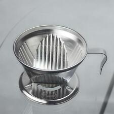 Stainless Steel Coffee Filter Cup Cone Drip Dripper Cafe Maker Holder Silver