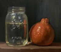 """Tangelo & Jar of water"" NOAH VERRIER Still life oil painting, Signed print"
