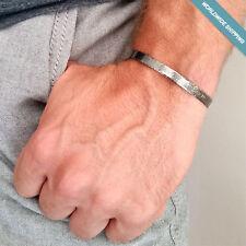Engraved Cuff for Men - Black Sterling Silver Bracelet. Anniversary Gift for Him