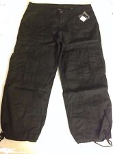 (New with Tags) NORMA KAMALI Cropped Cargo Capri Pants 100% Cotton Size 10 Black