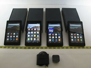 Lot of 4 Amazon Fire HD6 Tablets In original boxes w/ 1 USB Charger Cable AS IS