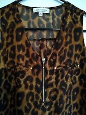 "Active Usa Woman's Leopard Med Semi Sheer Top ""Designed In Los Angeles"""