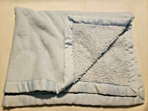 Babies R Us Baby Blanket Matte Solid Blue Satin Trim Soft Plush Sherpa