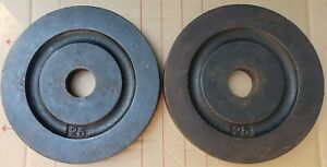 Vintage Pair of York Barbell Milled Olympic 25 lb Plates - 50lbs total USA made