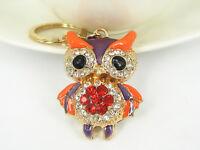 TR003 1T Owl Keyring Rhinestone Cute Crystal Charm Pendant Key Bag Chain Gift