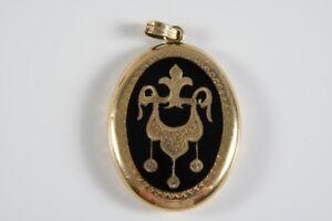 k48a01- 585er/ 14kt Gold Medaillon mit Email