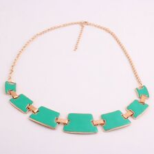 Fashion Jewelry Green Enamel Metal Geometry Choker Bib Collar Necklace Top