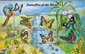 MODERN GEMS - Sierra Leone - Butterflies of the World - Sheet of 6 - MNH