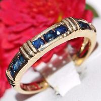 Effy  signed BH handmade 14k yellow gold 0.70ct sapphire size 8 band ring 3.2gr