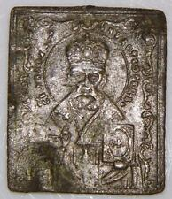 St. Nicholas Antique Russian Orthodox Bronze ICON HOLY MEDAL 30mm ca.1700 Cross