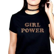 GIRL POWER PRINTED SLOGAN T-SHIRT TSHIRT TOP LEOPARD SPICE GIRLS WORLD TOUR UK