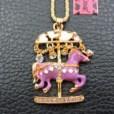 Nuevo Betsey Johnson púrpura del Rhinestone Cristal Carrusel Cadena Collar Regalo