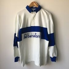 Vintage 80's United Colors of Benetton L/S Polo Rugby Shirt XL Blue White VTG