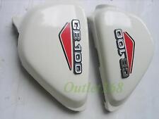HONDA 100 CB100 K2 Side Frame Cover W Red Decal + Emblem Badge Mount Clip Set