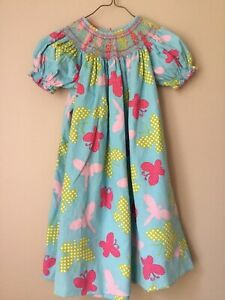 Girls Claire And Charlie Smocked Bishop Butterflies Dress Size 5